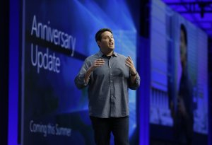 Terry Myerson, Microsoft Executive Vice President of the Windows and Devices Group, talks about an anniversary update to Windows 10 during the keynote address at the Microsoft Build Conference, Wednesday, March 30, 2016, in San Francisco. (AP Photo/Eric Risberg) CAER107 (Eric Risberg / The Associated Press)