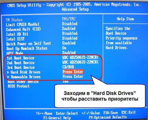 Hard Disk Drives submenu