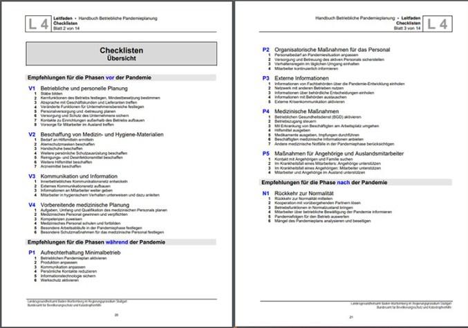 Zu sehen ist ein Screenshot aus dem Handbuch Betriebliche Pandemieplanung. Bild: Screenshot Handbuch Betriebliche Pandemieplanung