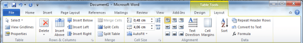 Office 2010 Word Table Tools Layout Ribbon