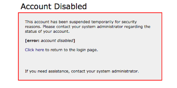 MyFIT Account Disabled