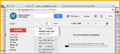 Jane_Doe@fitnyc.edu Gmail View Orange Background