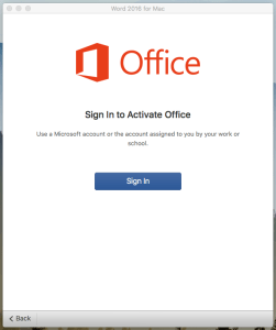 Sign in to Activate Office 365