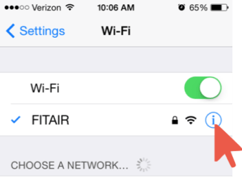 Arrow Pointed at Info Icon Next to FITAIR Network