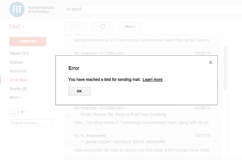 Gmail Error Sending Limit