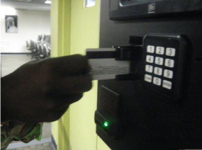 Insert you FIT ID Card with the Magnetic stripe up
