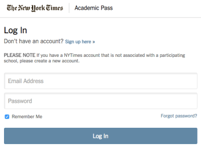 NY Times Academic Pass Log In
