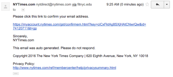 NYTimes.com Confirmation Email