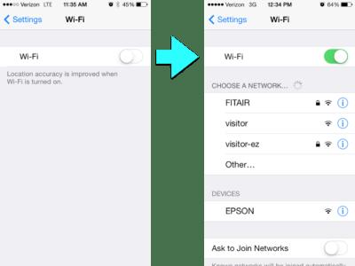 iPhone Wi-Fi off then Wi-Fi On