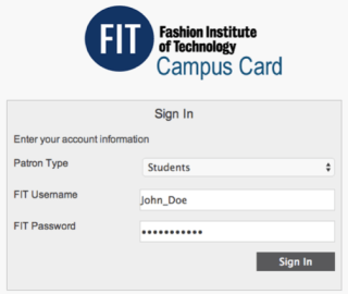 Campus Card In Window with John Doe Account