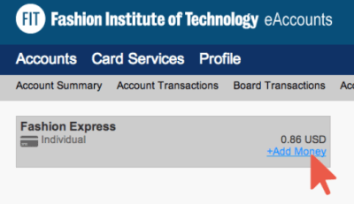 Fashion Express Account with Arrow on Add Funds