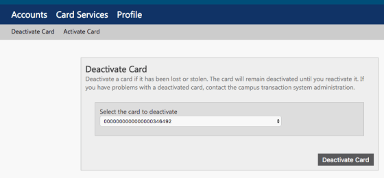 Deactivate Card Window