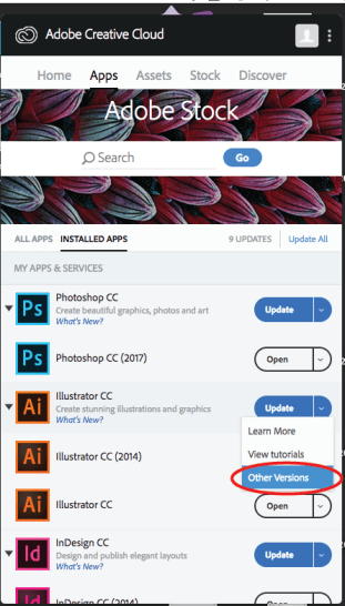 "Drop down menu with ""Learn More"", ""View Tutorials"", & ""Other Versions"""