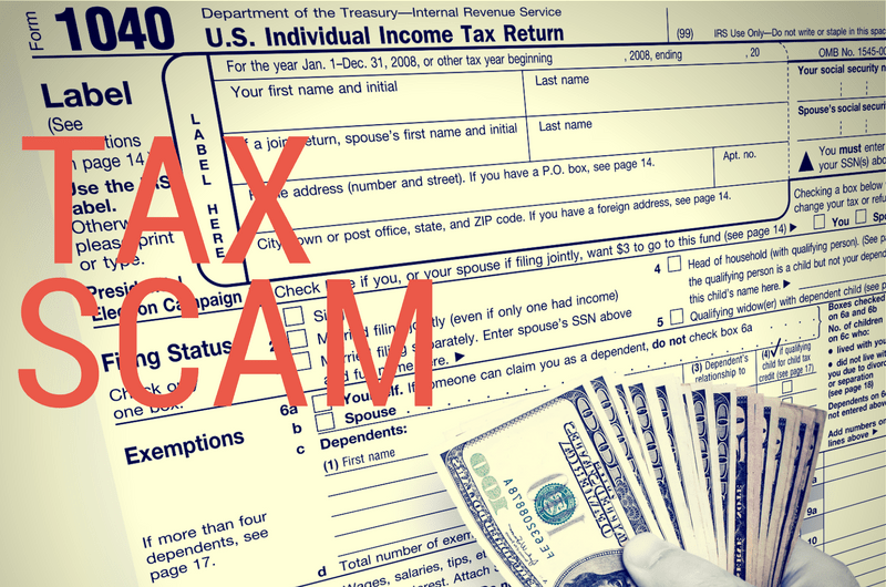 IRS form and Hand holding money overlaid with Tax Scam text