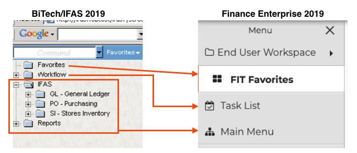 Screenshots of BiTech/IFAS navigation compared to Finance Enterprise