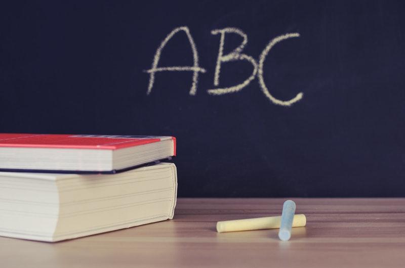 ABC Written on Blackboard in Classroom