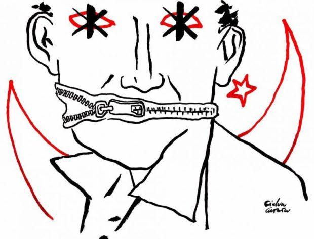Les journalistes turcs en danger. Illustration de Gianluca Costantini pour FDU Milan. Source: page Facebook du Festival droits de l'homme.