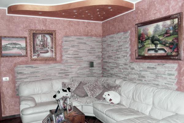 Parete soggiorno in petra bianco. Foto Abbassamento In Cartongesso Con Decorazione Parete E Posa Pietre Di Csm Multiservizi 150212 Habitissimo