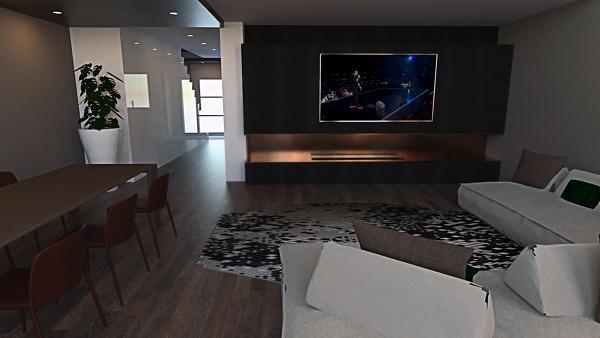 Un progetto di arredo per il soggiorno che mixa diverse funzionalità. Foto Living Con Parete Camino E Tv Illuminazione Serale Di Artheco Sas 576290 Habitissimo