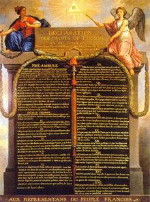 """A seguito della Rivoluzione Francese nel 1789, la Dichiarazione dei Diritti dell'Uomo e dei Cittadini garantiva specifiche libertà dall'oppressione, come """"espressione della volontà generale""""."""