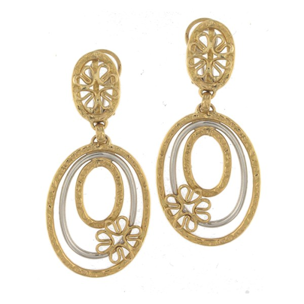 Drop earrings in yellow and white gold