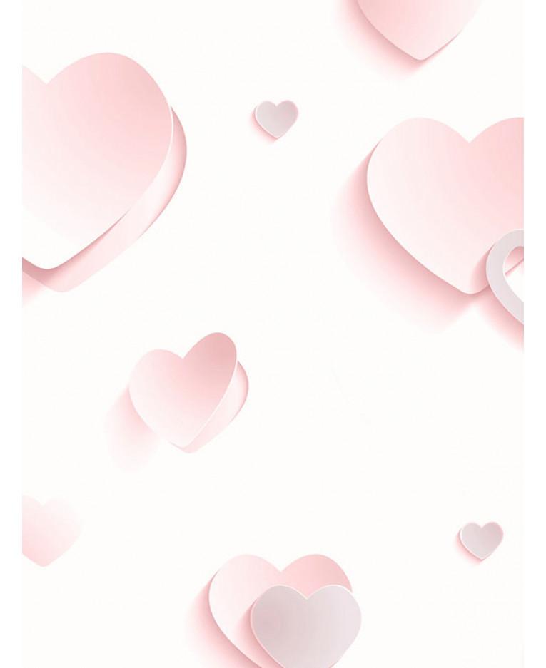 Tradizionali cuoricini sulla carta da parati dedicata a teenagers, bambine o ragazze adolescenti. Carta Da Parati Glitterata Con Cuori 3d Rosa J92603 Arredamento Caratteristica