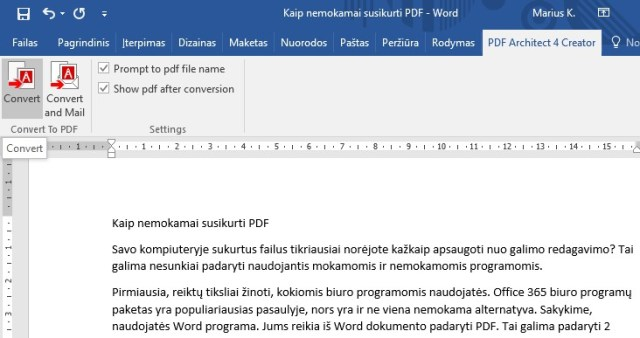 PDF creator juosta