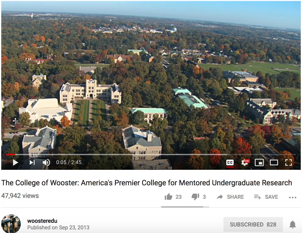"""screen capture of youtube's interface featuring """"The College of Wooster: America's Premier College for Mentored Undergraduate Research"""""""