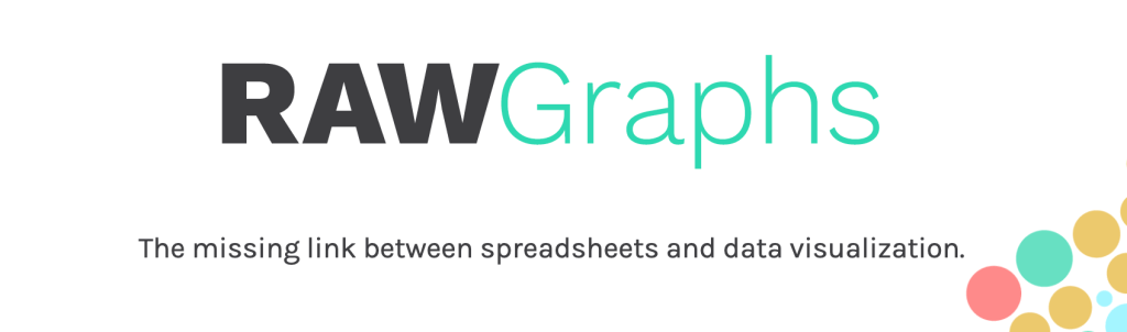 """logo raw graphs with quote """"The missing link between spreadsheets and data visualization""""."""