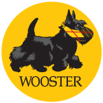 Black Scottish Terrier wearing a mask with a yellow circle background with the word Wooster on it.