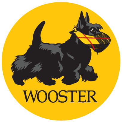 Picture of a scotty dog with yellow background wearing a mask and Wooster words below it.