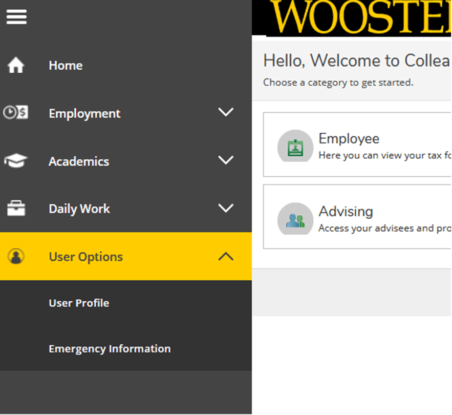 Screenshot of the user interface of Self Service