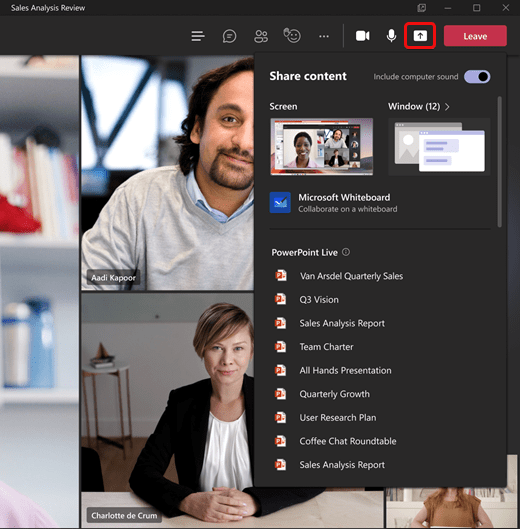 Teams Share content tray 2021