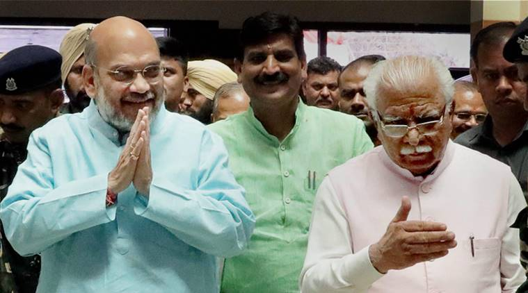 Amit Shah with Khattar at BJP workers' training programme