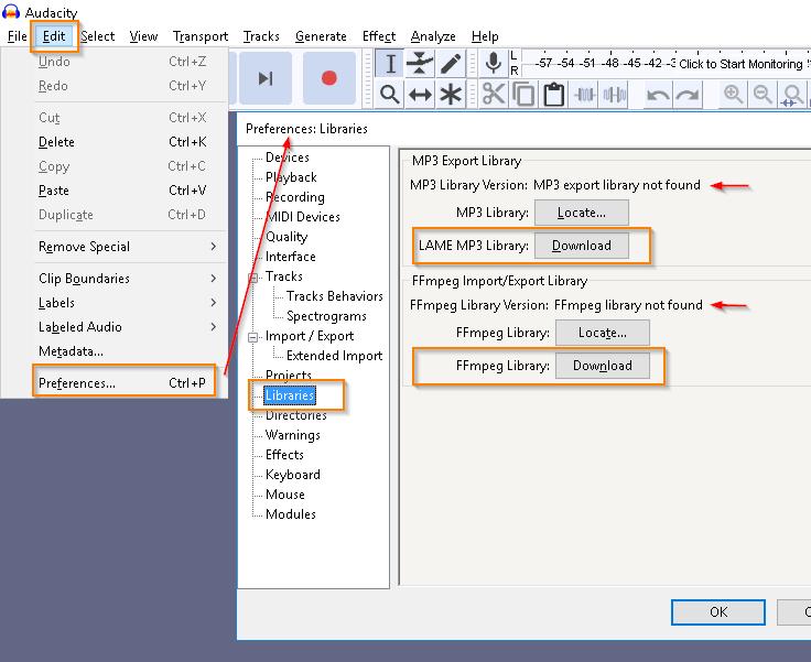 audacity convert m4a to mp3
