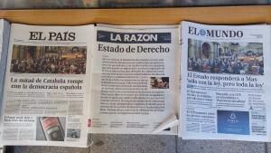 Giornali spagnoli in una edicola di Madrid (10 novembre 2015, foto di Lorenzo Pasqualini per El Itagnol)