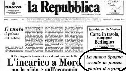 Sul primo numero di la Repubblica (14 gennaio 1976) si parlava anche di Spagna