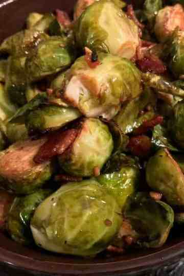 Roasted Brussel Sprouts with Balsamic & Bacon