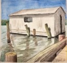 Boat House, Smith Island. Water soluble crayon. Original work by Stacy Kenny Mitchell