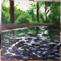 Puddle Reflection, Adare. Acrylic on canvas by Stacy Kenny Mitchell