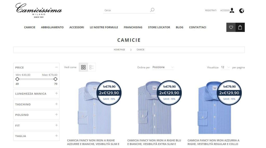 Camicie online: sito Camicissima
