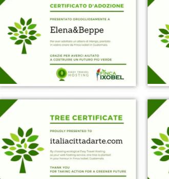certificati di adozione di un albero Easy Travel Hosting ecologico