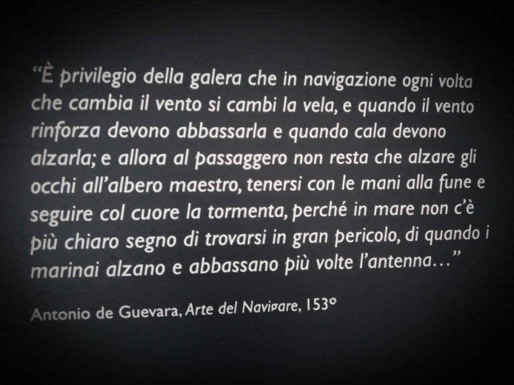 Galata di Genova - pannello scritto a ricordo di come di viveva in galea