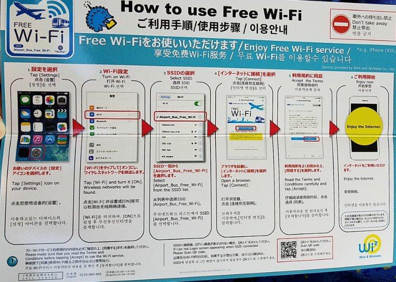 三ノ宮駅発関空行きリムジンバスの車内無料Wifiの使い方マニュアルです。