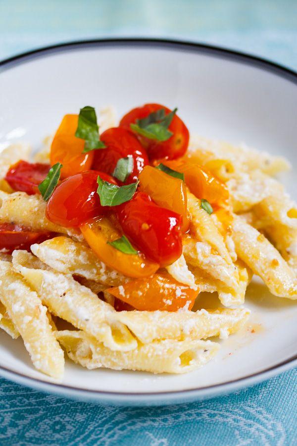 Garganelli with Fresh Ricotta and Grape Tomatoes