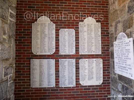 The honor roll and memorial in Long Island's St. Rocco's Church in Long Island, NY