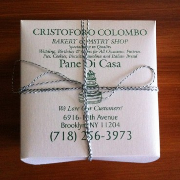 A box from the now defunct Cristoforo Colombo Bakery on 18th Avenue