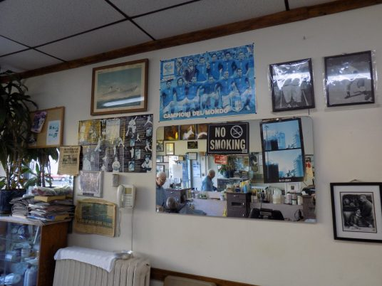 The inside of J&J Barbershop