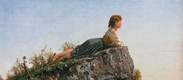Filippo Palizzi - Fanciulla sulla roccia a Sorrento dettaglio