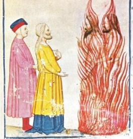 Dante e Virgilio incontrano Ulisse. Miniatura del XIV secolo.